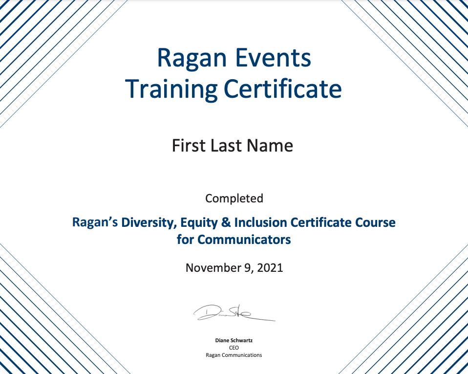 Ragan Events Training Certificate
